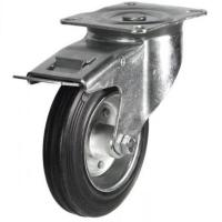 200mm medium duty braked castor rubber wheel