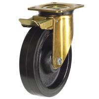 250mm Heavy Duty Rubber On Cast Iron Core Braked Castors
