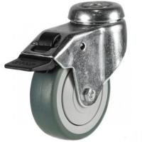 75mm Grey Non-Marking Rubber Bolt Hole Braked Castor Up To 50kg Capacity