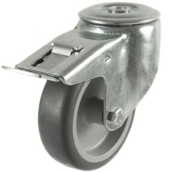 100mm Synthetic Non-Marking Antistatic Rubber Braked Castors
