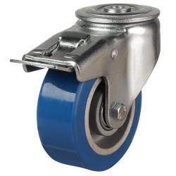 100mm Elastic Polyurethane On Aluminium Centre 80 Shore A Braked Castors