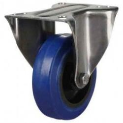 100mm Medium Duty Elastic Rubber Non-Marking Stainless Steel Fixed Castors