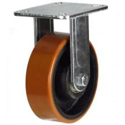 100mm Heavy Duty Polyurethane on Cast Iron Fixed castors - 380kg capacity