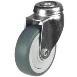 100mm Grey Non-Marking Rubber Bolt Hole Castor Up To 60kg Capacity