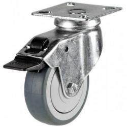 100mm Grey Non-Marking Rubber Braked Castor Up To 60kg Capacity