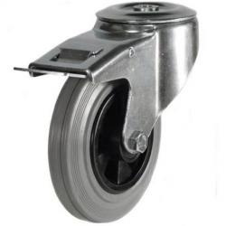 125mm Light Duty Rubber on Plastic Bolt Hole Braked castors - 100kg capacity