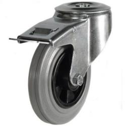 100mm Light Duty Rubber on Plastic Bolt Hole Braked castors - 70kg capacity
