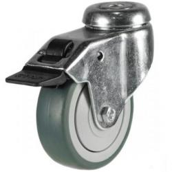 100mm Grey Non-Marking Rubber Bolt Hole Braked Castor Up To 60kg Capacity