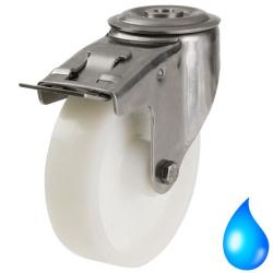 100mm Medium Duty Nylon Wheel with Stainless Steel Bracket,M12 Bolt Hole Braked castors - 200kg capacity