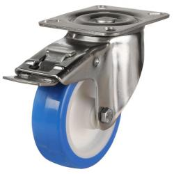 100mm Medium Duty Poly Nylon Centre Stainless Steel Braked Castors