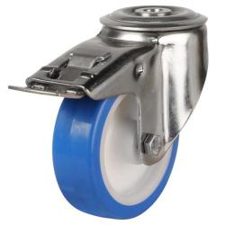100mm Medium Duty Poly Nylon Stainless Steel Bolt Hole Braked Castors