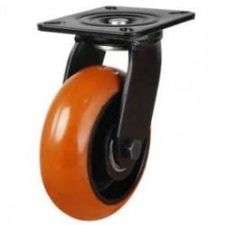 100mm Round Profile Polyurethane On Cast Iron Core Swivel Castors