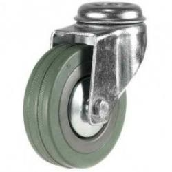 100mm Synthetic Grey Rubber Bolt Hole Castor Up To 80kg Capacity