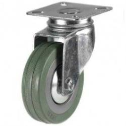 100mm Synthetic Grey Rubber Swivel Castor Up To 80kg Capacity