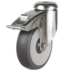 100mm Synthetic Non-Marking Rubber Bolt Hole Braked Castors