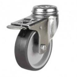 100mm Synthetic Non-Marking Rubber Bolt Hole Braked Castor Up To 75kg Capacity