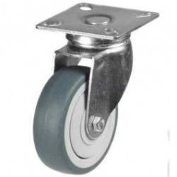 100mm Grey Non-Marking Rubber Swivel Castor Up To 80kg Capacity