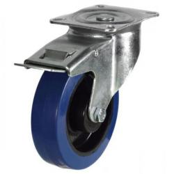 100mm Blue Elastic Rubber Braked Castor Up To 180kg Capacity