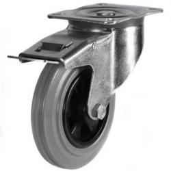 100mm medium duty braked castor grey rubber wheel