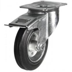 100mm medium duty braked castor rubber wheel