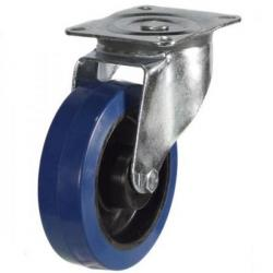 100mm Blue Elastic Rubber Swivel Castor Up To 180kg Capacity