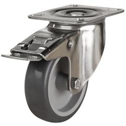 125mm Synthetic Non-Marking Antistatic Rubber Braked Castors