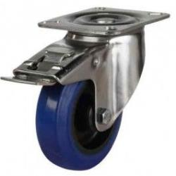 125mm Elastic Rubber Non-Marking Heavy Duty Braked Castors