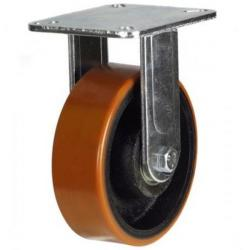 125mm Heavy Duty Polyurethane on Cast Iron Fixed castors - 500kg capacity