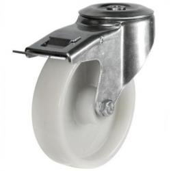 125mm Light Duty Nylon M12 Bolt Hole Braked castors - 270kg capacity