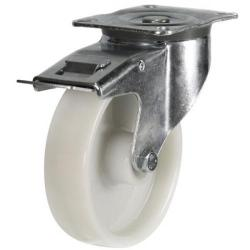 125mm Medium Duty Swivel Castor Nylon Wheel, Large Plate