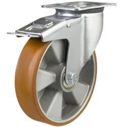 125mm Polyurethane On Aluminium Centre Braked Castors