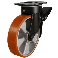 125mm Polyurethane On Cast Iron Core Heavy Duty Braked Castors