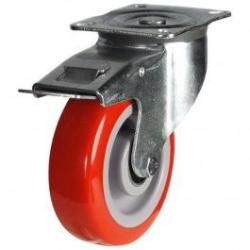 125mm medium duty braked castor poly/nylon wheel