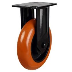 125mm Round Profile Polyurethane On Cast Iron Core Heavy Duty Fixed Castors