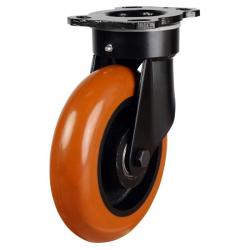 125mm Round Profile Polyurethane On Cast Iron Core Heavy Duty Swivel Castors