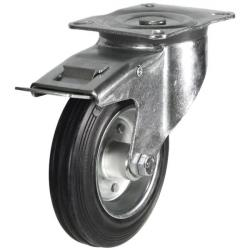 125mm Rubber On Steel Disk Centre Braked Castors
