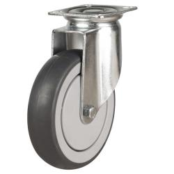 125mm Synthetic Non-Marking Rubber Swivel Castor Up To 110kg Capacity