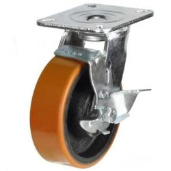 150mm Heavy Duty Polyurethane on Nylon Braked castors - 500kg capacity