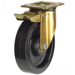 150mm Heavy Duty Rubber on Cast Iron Braked castors - 450kg capacity