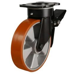 150mm Polyurethane On Aluminium Centre Heavy Duty Braked Castors