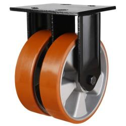 150mm Polyurethane On Aluminium Centre Twin Wheel Heavy Duty Fixed Castor