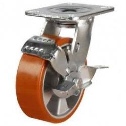 150mm Polyurethane On Cast Aluminium Braked Castors