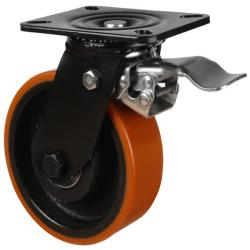150mm Polyurethane On Cast Iron Core Braked Castors