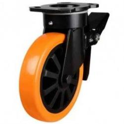 150mm Polyurethane On Nylon Centre Heavy Duty Braked Castors
