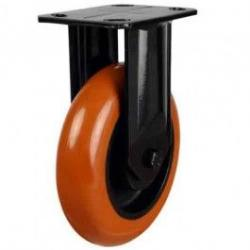150mm Round Profile Polyurethane On Cast Iron Core Heavy Duty Fixed Castor