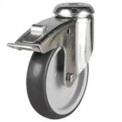 150mm Synthetic Non-Marking Rubber Bolt Hole Braked Castor Up To 130kg Capacity