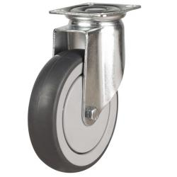 150mm Synthetic Non-Marking Rubber Swivel Castor Up To 130kg Capacity