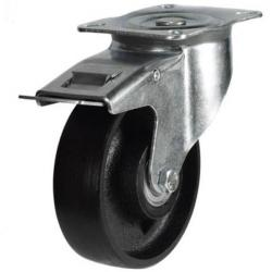 150mm medium duty braked castor cast iron wheel