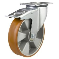 150mm medium duty braked castor poly/alley wheel