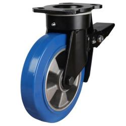 160mm Elastic Polyurethane On Aluminium Centre 80 Shore A Braked Castors